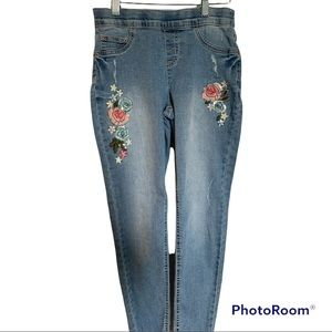 Justice Brand Mid Rise Legging Floral Embroidered Jeans Girl's Size 14